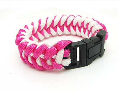 New Paracord Parachute Rope Bracelet Wristband Survival Hiking Pink+white