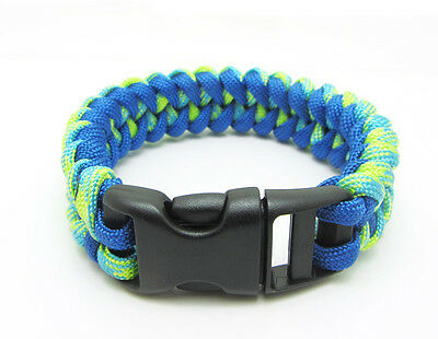 New Paracord Parachute Rope Bracelet Wristband Survival Hiking Mixed Blue+yellow