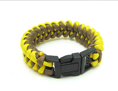 New Paracord Parachute Rope Bracelet Wristband Survival Hiking Yellow+Army green