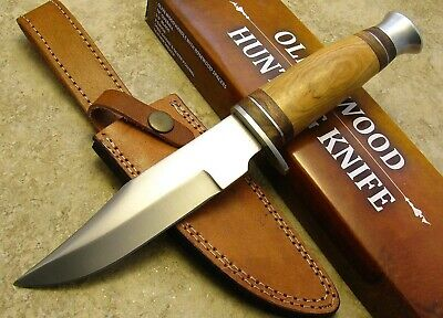 Olive Wood Handle Fixed Blade Hunting Knife Clip Point Custom Leather Sheath