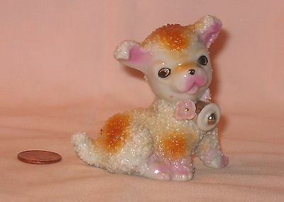 Vintage Ceramic Puppy Dog Figure With Spaghetti Popcorn Finish; Made In Japan