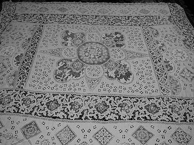 Antique Vtg Embroidered net cutwork linen Banquet Tablecloth MULTIPLE LACE 110""