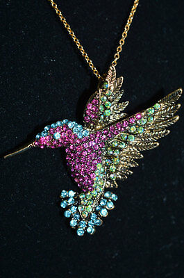Joan Rivers Multi Crystal Rhinestone HUMMING BIRD BROOCH/ Necklace 2 inch with R