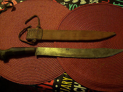 "Antique Middle Eastern Knife 19""  Long - Double Crescent Stamps Hand Made Sheath"
