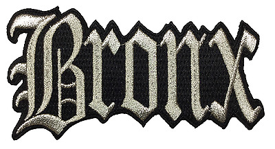 "Bronx New York City Iron On Embroidered Patch NY 4.5"" x 2.5"" SILVER METALLIC"