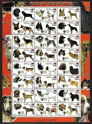 East Timor 2000 Dogs 4 sheets with 96 different dogs MNH