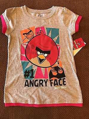 New Girls Size 5 Angry Birds  Gray T-shirt Top Tee