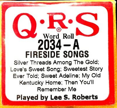 QRS Word Roll FIRESIDE SONGS Roberts 6 Selections 2034-A Player Piano Roll