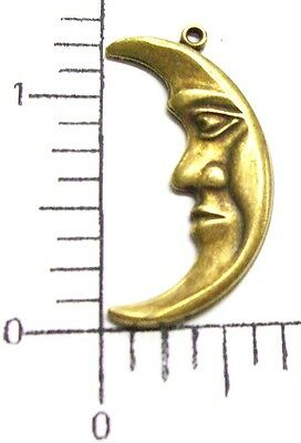 37743      6 Pc  Brass Oxidized Large Moon w/Face Charm Jewelry Finding SALE