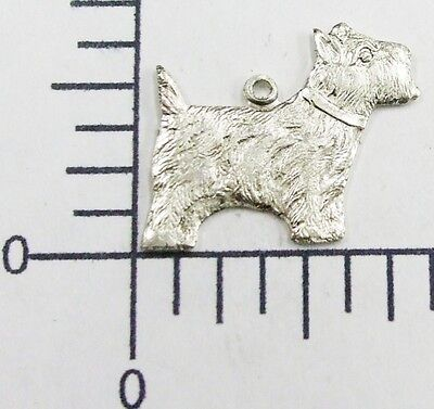 40514   6 Pc Matte Silver Oxidized Scottish Terrier Jewelry Finding Charm SALE