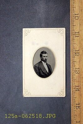 Antique Tintype Photo Mounted in Paper Frame Young Man with Goatee Beard