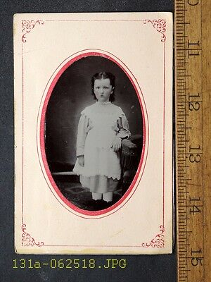 Antique Tintype Photo Young Girl with Rosy Cheeks White Dress in Paper Frame