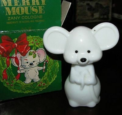 Vintage Avon Merry Mouse Zany Cologne perfume bottle empty with box
