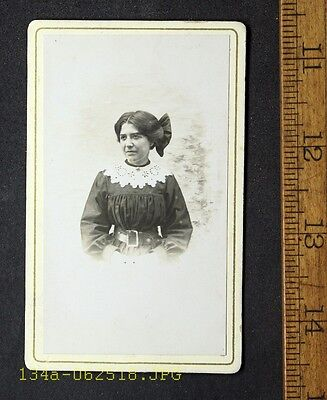 Antique CDV Photo Pretty Young Lady Large Lace Collar & Giant Bow in Hair