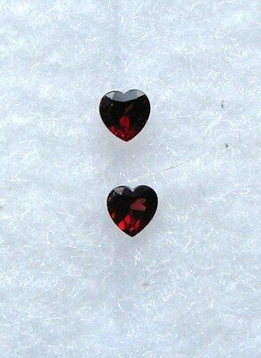 Matched Pair 6mm Faceted Garnet Hearts 2 Carats