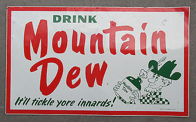 "1960s MOUNTAIN DEW Soda Pop Hillbilly Sign Original 30""x18"" Metal Store Rare Old"