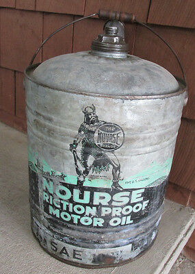 NOURSE Motor Oil Can 5 Gallon Viking Original Sign Metal Old Rare Gas Station