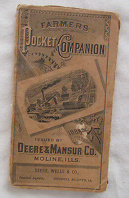 1883 JOHN DEERE & Mansur Pocket Ledger Companion Original Rare Farm Dealer