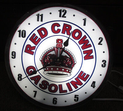 """Red Crown Gasoline Lighted Clock 13.5"""" Gas Station Oil Sign Neat"""