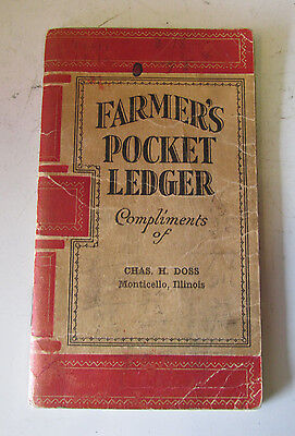 1910s-20s JOHN DEERE Pocket Ledger MONTICELLO Illinois Farm Tractor Old Rare