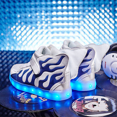 LED Boy Girl's Light Up flame Wing Dance Boot Running Shoes Kids Casual Sneakers