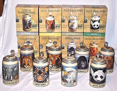 "Set of 8 Budweiser ""Endangered Species Series"" Steins w/Boxes Retired"