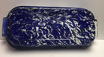 Rare Cobalt Blue & White Swirl Oblong Graniteware Baking Pan-Excellent Condition