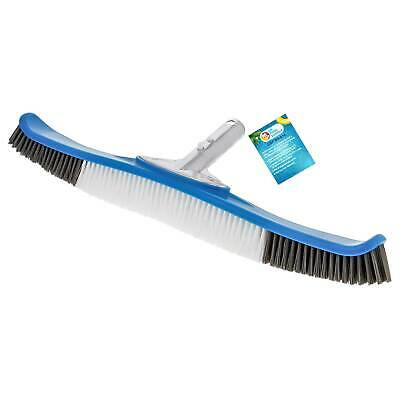"Heavy Duty 20"" Flexible Floor & Wall Swimming Pool Brush Aluminum EZ Clip Handle"