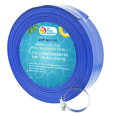 "1-1/2"" x 100' Heavy Duty Blue PVC Swimming Pool Backwash Hose & Clamp, Discharge"