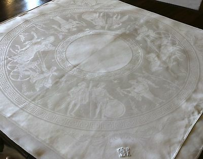 "Set 4 Linen Damask 29"" Lapkins Napkins Monogrammed DEW Neoclassic Greek Design"