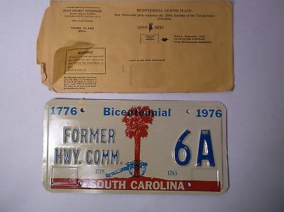 1976 SC South Carolina Former Hwy Commissioner License Plate Tag LOW NUMBER 6A