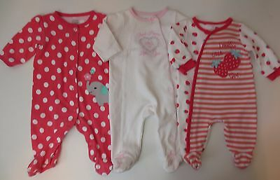 LOT Baby Girls Size 0-3 3 Months Sleepers Sleep And Plays