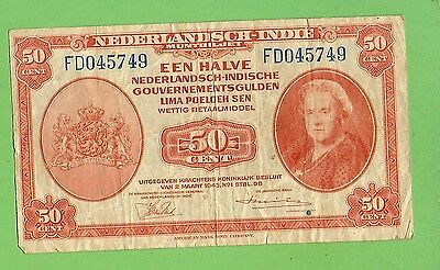 #D304. NETHERLAND INDIES 50 CENT  BANKNOTE, 2nd March 1943, FD045749