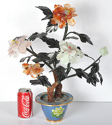 "Vintage Chinese Cloisonnè Enamel & Glass Jade Tree Flowers Early 20th 19"" Tall"