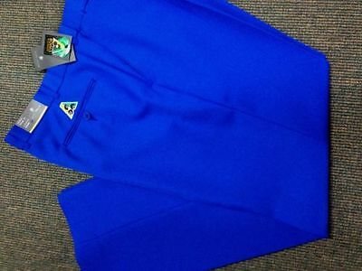 NEW Mens Lawn Bowls BA logo Trousers CITY CLUB Flexi Waist Belt Loop ROYAL BLUE