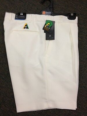 NEW Mens Lawn Bowls BA logo Shorts CITY CLUB Flexi Waist Belt Loop CREAM