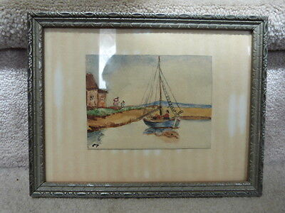 "ANTIQUE VINTAGE Delicate Art Deco Silver Picture Frame Water Painting 8.75""x6.8"""