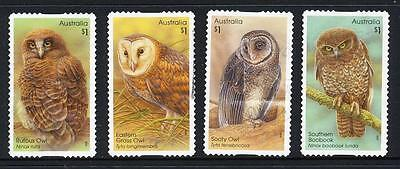 Australian 2016 Owls, set of 4  S/A stamps, used