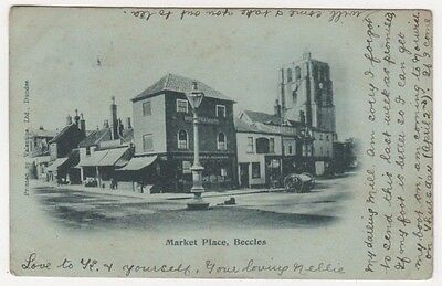Market Place Beccles Suffolk Early 1903 UB Postcard, B696