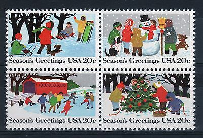 USA a nice block of stamps to celebrate Christmas.
