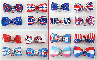 "50 BLESSING Good Girl  2"" Double Bowknot Hair Bow Clip National Accessories"