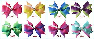 "30 BLESSING Good Girl Boutique 3.5"" Rainbow Mermaid Hair Bow Clip #68 Wholesale"