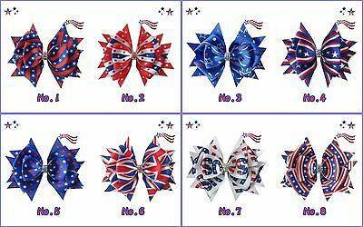 """26 BLESSING Good Girl 4.5"""" Stylish Hair Bow Clip National Flag Independence Day"""