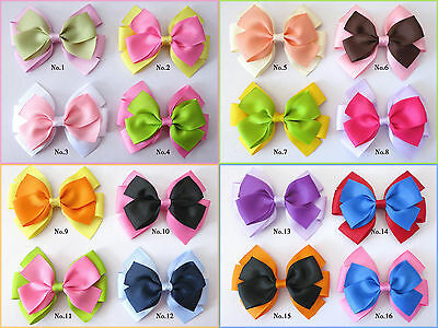 "50 BLESSING Good Girl Boutique 4.5"" Double Bowknot Hair Bow Clip Accessories"