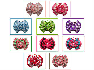 """10 BLESSING Happy Girl Hair Accessories 5"""" A- Ball Butterfly Hair Bow Elastic"""