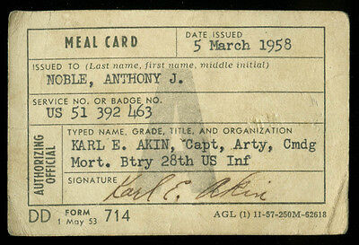 US Army Mortar Battery 28th US Infantry A Meal Card 1958