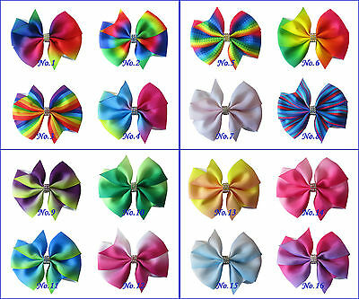 "20 BLESSING Good Girl Boutique 3.5"" Rainbow  Wendy Hair Bows Clip Accessories"