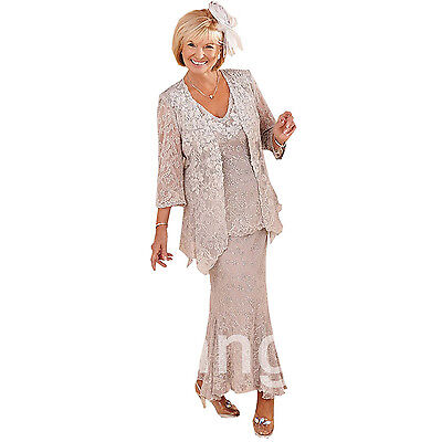 Mother of the Bride Bridesmaids Formal Dresses Suit Pants 3/4 Sleeves Plus Size