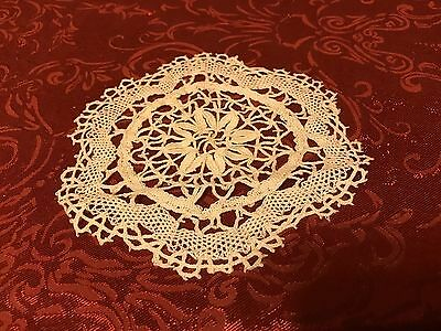 """Antique Crocheted Doily 5.5"""" Small  Flower Shape and Center Off White"""