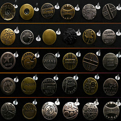 No sew Hammer On Metal Plain Denim Jean Button Rivet DIY Repair Trousers Jacket